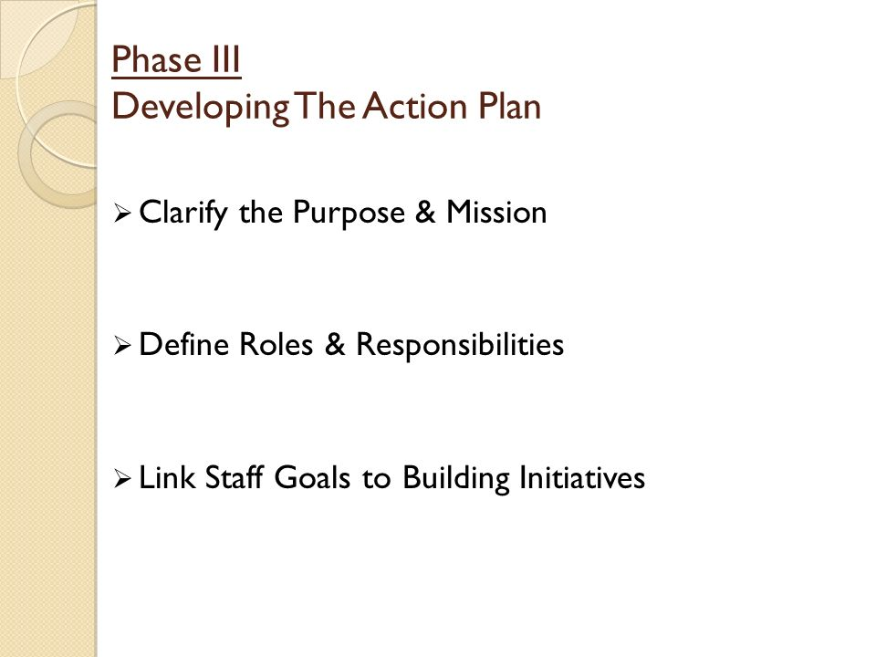 Phase III Developing The Action Plan Clarify the Purpose & Mission Define Roles & Responsibilities Link Staff Goals to Building Initiatives