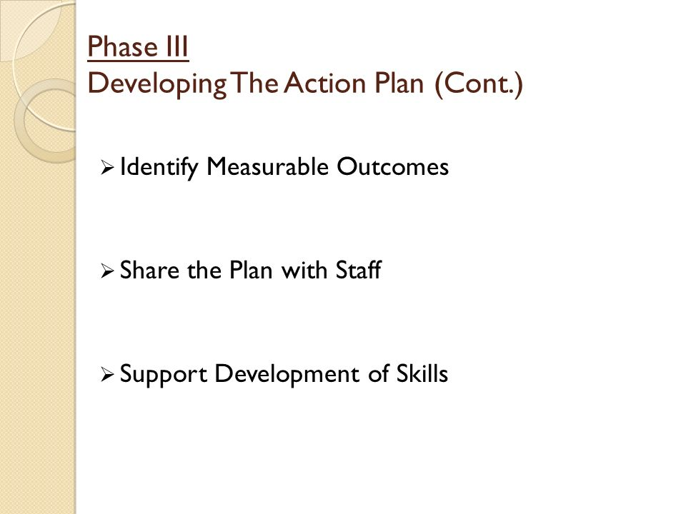 Phase III Developing The Action Plan (Cont.) Identify Measurable Outcomes Share the Plan with Staff Support Development of Skills