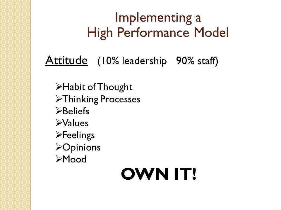 Attitude (10% leadership 90% staff) Habit of Thought Thinking Processes Beliefs Values Feelings Opinions Mood OWN IT.