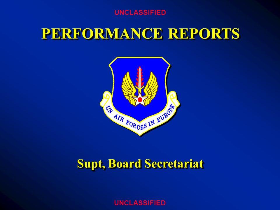 PERFORMANCE REPORTS UNCLASSIFIED Supt, Board Secretariat