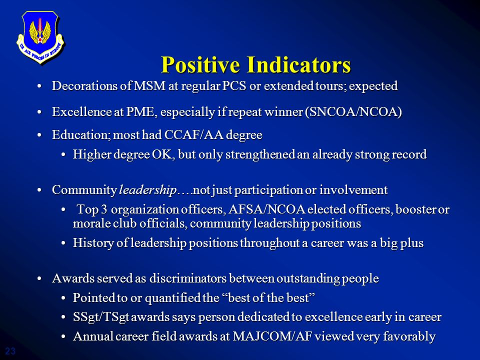 23 Positive Indicators Decorations of MSM at regular PCS or extended tours; expectedDecorations of MSM at regular PCS or extended tours; expected Exce