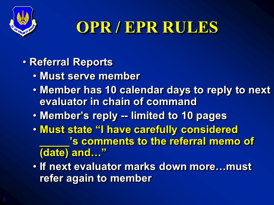 6 OPR / EPR TECHNIQUES (WEAKNESSES) Vague job descriptionVague job description GeneralitiesGeneralities Jargon, techno-babble, unknown acronyms(when in doubt, spell it out)Jargon, techno-babble, unknown acronyms(when in doubt, spell it out) Text reiterates job descriptionText reiterates job description Absence of quantification, results, impactAbsence of quantification, results, impact Lack of stratificationLack of stratification Vague job descriptionVague job description GeneralitiesGeneralities Jargon, techno-babble, unknown acronyms(when in doubt, spell it out)Jargon, techno-babble, unknown acronyms(when in doubt, spell it out) Text reiterates job descriptionText reiterates job description Absence of quantification, results, impactAbsence of quantification, results, impact Lack of stratificationLack of stratification