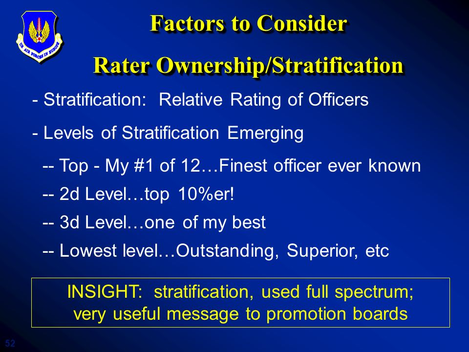 52 Factors to Consider Rater Ownership/Stratification - Stratification: Relative Rating of Officers - Levels of Stratification Emerging -- Top - My #1