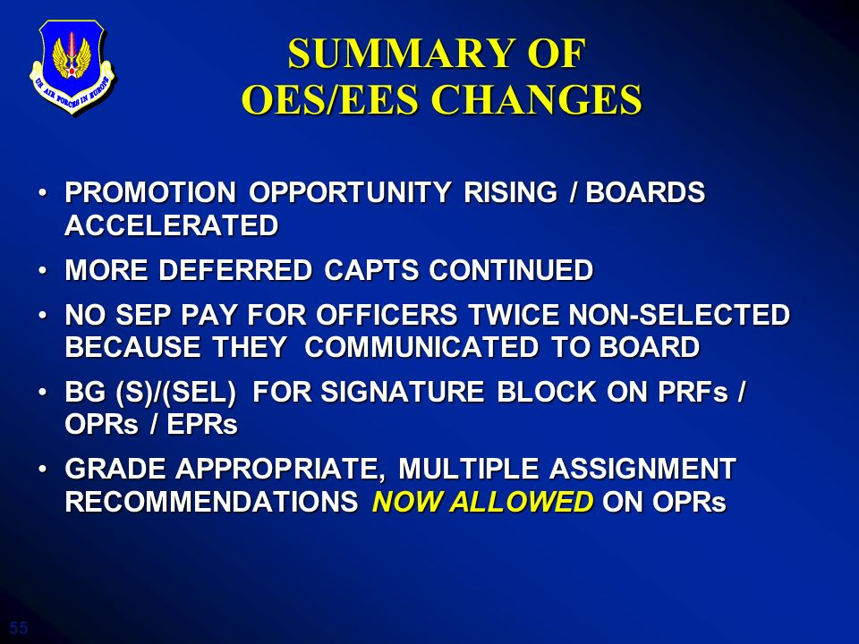 55 PROMOTION OPPORTUNITY RISING / BOARDS ACCELERATEDPROMOTION OPPORTUNITY RISING / BOARDS ACCELERATED MORE DEFERRED CAPTS CONTINUEDMORE DEFERRED CAPTS