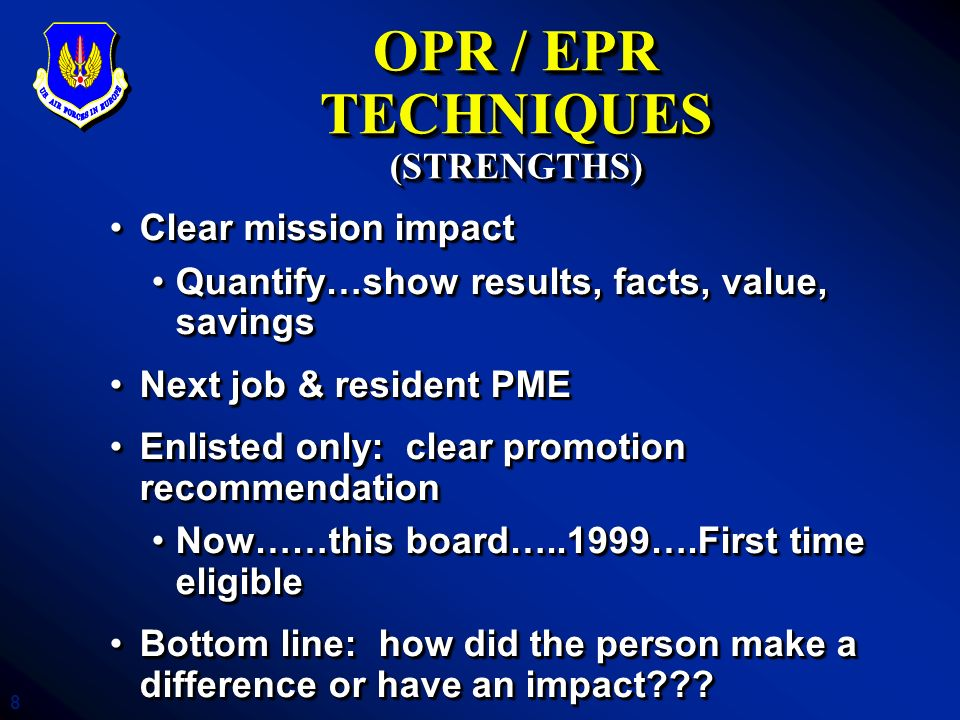19 WHAT THE BOARD SEES Board Insights DPs should only go to DP quality recordsDPs should only go to DP quality records Indicate awareness of unique situationsIndicate awareness of unique situations DNP PRFs: Explain exactly Why NotDNP PRFs: Explain exactly Why Not Stratify rankings…but do so consciouslyStratify rankings…but do so consciously Highlight significant achievements…previous BPZHighlight significant achievements…previous BPZ Chronological PRFs are easiest to followChronological PRFs are easiest to follow Officers can prevent many record errorsOfficers can prevent many record errors Letters to the board--be concise, appropriate toneLetters to the board--be concise, appropriate tone DPs should only go to DP quality recordsDPs should only go to DP quality records Indicate awareness of unique situationsIndicate awareness of unique situations DNP PRFs: Explain exactly Why NotDNP PRFs: Explain exactly Why Not Stratify rankings…but do so consciouslyStratify rankings…but do so consciously Highlight significant achievements…previous BPZHighlight significant achievements…previous BPZ Chronological PRFs are easiest to followChronological PRFs are easiest to follow Officers can prevent many record errorsOfficers can prevent many record errors Letters to the board--be concise, appropriate toneLetters to the board--be concise, appropriate tone