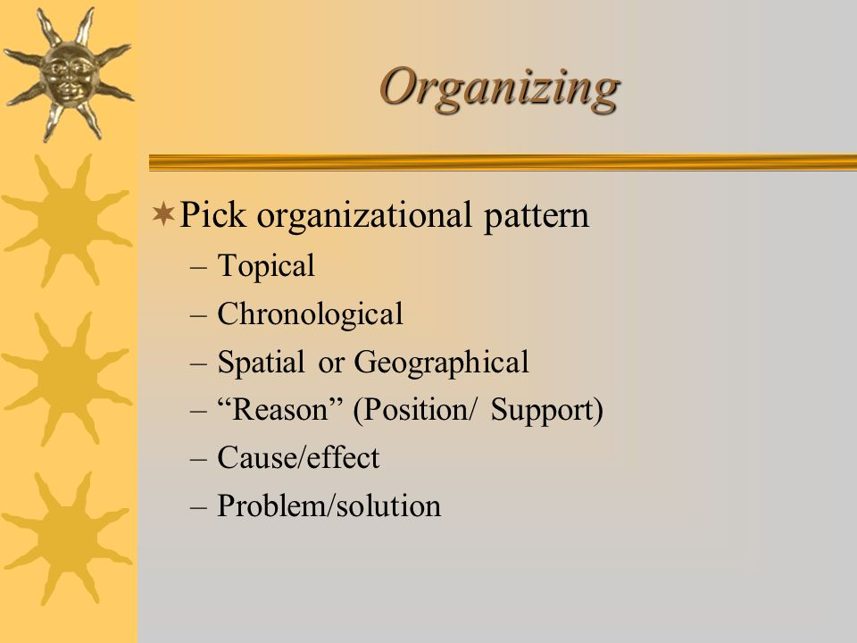 Organizing Pick organizational pattern –Topical –Chronological –Spatial or Geographical –Reason (Position/ Support) –Cause/effect –Problem/solution