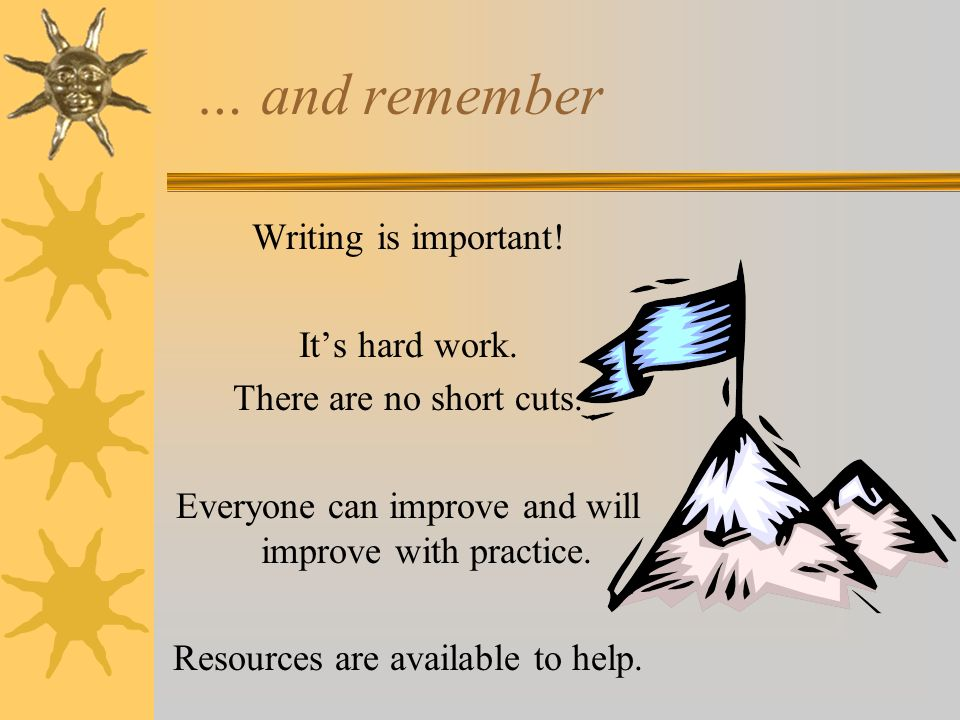 … and remember Writing is important! Its hard work. There are no short cuts. Everyone can improve and will improve with practice. Resources are availa