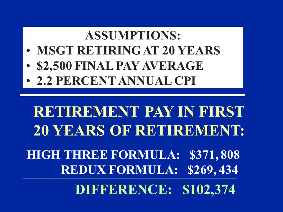 RETIREMENT PAY IN FIRST 20 YEARS OF RETIREMENT: HIGH THREE FORMULA: $371, 808 REDUX FORMULA: $269, 434 DIFFERENCE: $102,374 ASSUMPTIONS: MSGT RETIRING AT 20 YEARS $2,500 FINAL PAY AVERAGE 2.2 PERCENT ANNUAL CPI