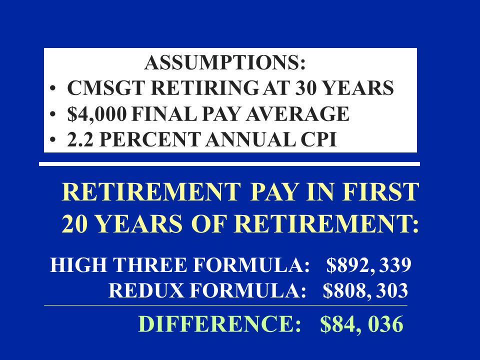 RETIREMENT PAY IN FIRST 20 YEARS OF RETIREMENT: HIGH THREE FORMULA: $892, 339 REDUX FORMULA: $808, 303 DIFFERENCE: $84, 036 ASSUMPTIONS: CMSGT RETIRIN