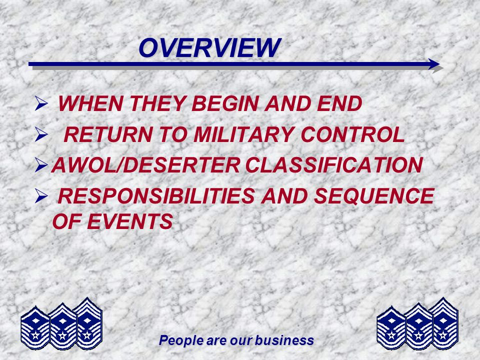People are our business OVERVIEW WHEN THEY BEGIN AND END RETURN TO MILITARY CONTROL AWOL/DESERTER CLASSIFICATION RESPONSIBILITIES AND SEQUENCE OF EVEN