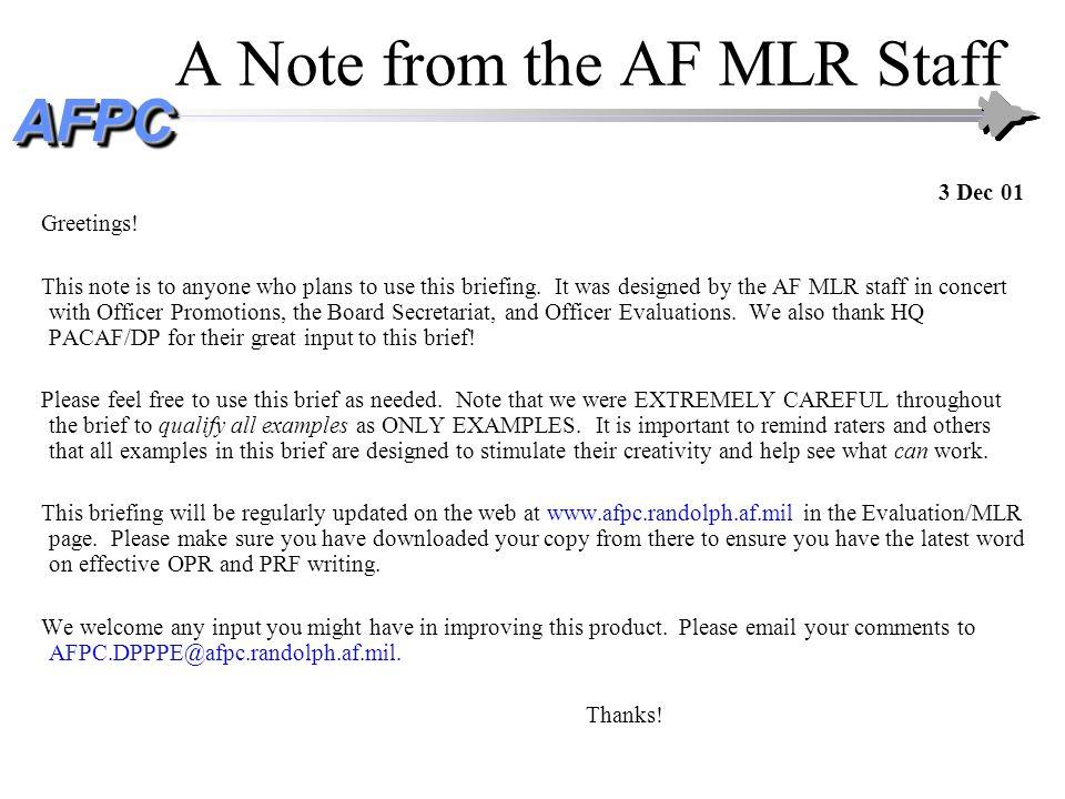 AFPCAFPC Writing Effective OPRs and PRFs Capt Joel J.