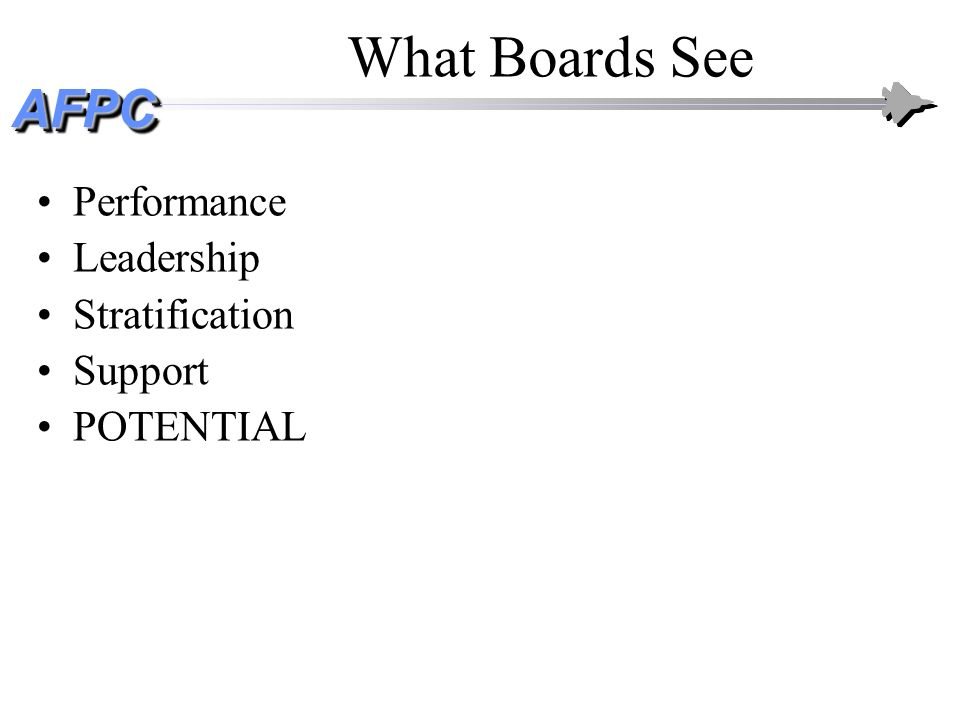 AFPCAFPC What Boards See: Performance Performance as documented on PRF/OPR Fact: extraordinarily difficult to discern much difference –Exceptions: combat, significant contingencies –Functional/unit awards recognition; DG Bullets are important to extent they influence AND support stratification/recommendations!