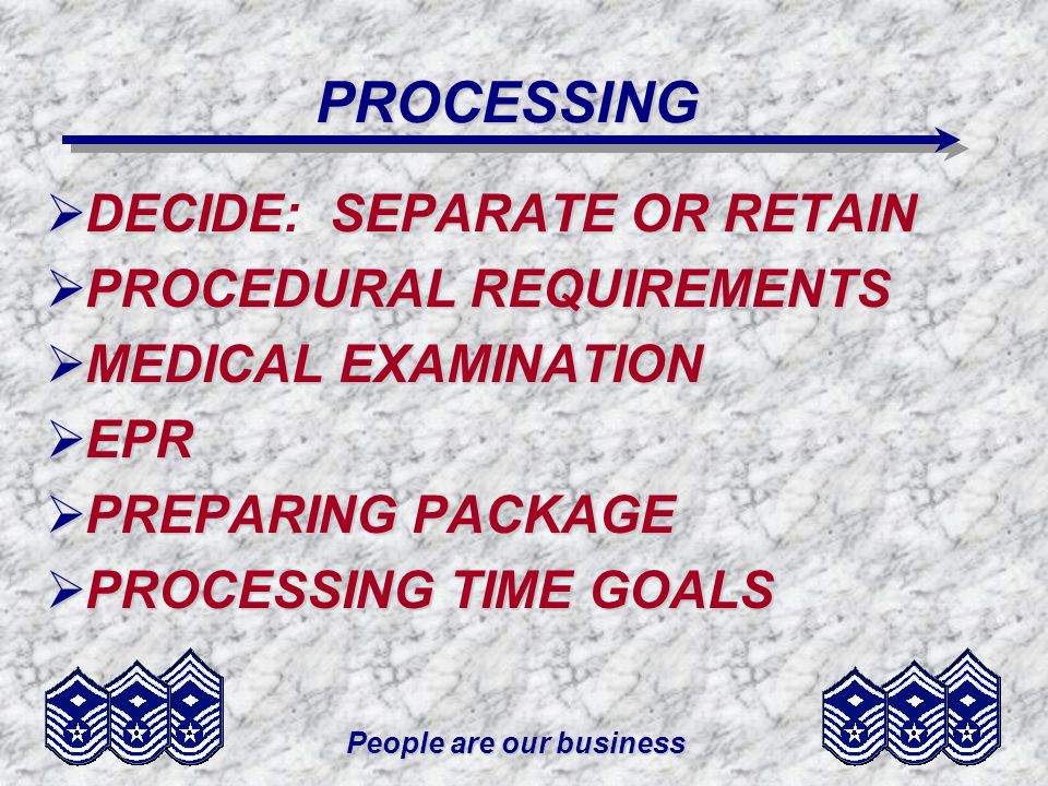People are our business PROCESSING DECIDESEPARATE OR RETAIN DECIDE: SEPARATE OR RETAIN PROCEDURAL REQUIREMENTS PROCEDURAL REQUIREMENTS MEDICAL EXAMINA