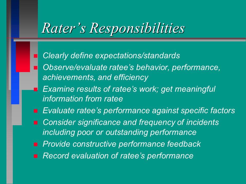 Raters Responsibilities n n Clearly define expectations/standards n n Observe/evaluate ratees behavior, performance, achievements, and efficiency n n