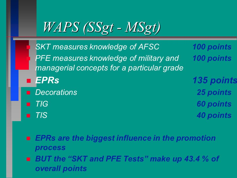 WAPS (SSgt - MSgt) n n SKT measures knowledge of AFSC100 points n n PFE measures knowledge of military and100 points managerial concepts for a particu