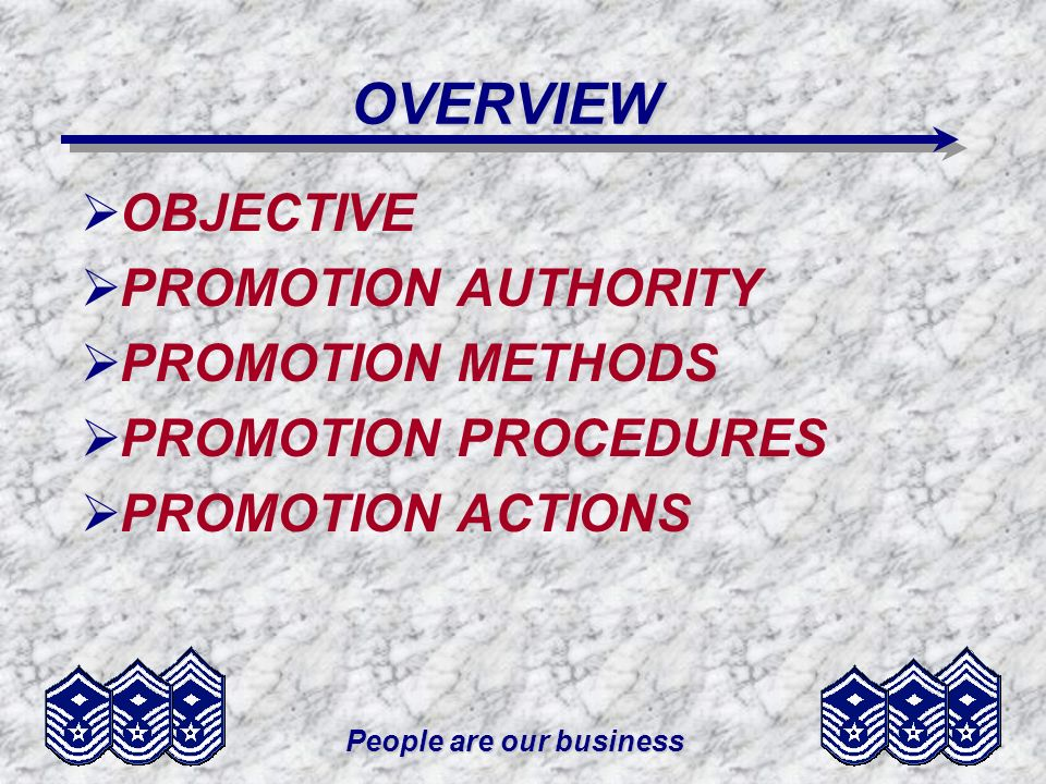 People are our business OVERVIEW OBJECTIVE PROMOTION AUTHORITY PROMOTION METHODS PROMOTION PROCEDURES PROMOTION ACTIONS