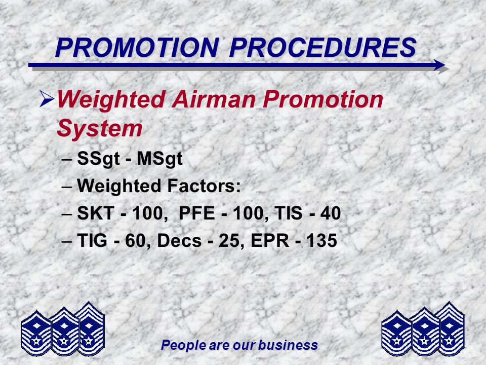 People are our business PROMOTION PROCEDURES Weighted Airman Promotion System –SSgt - MSgt –Weighted Factors: –SKT - 100, PFE - 100, TIS - 40 –TIG - 6