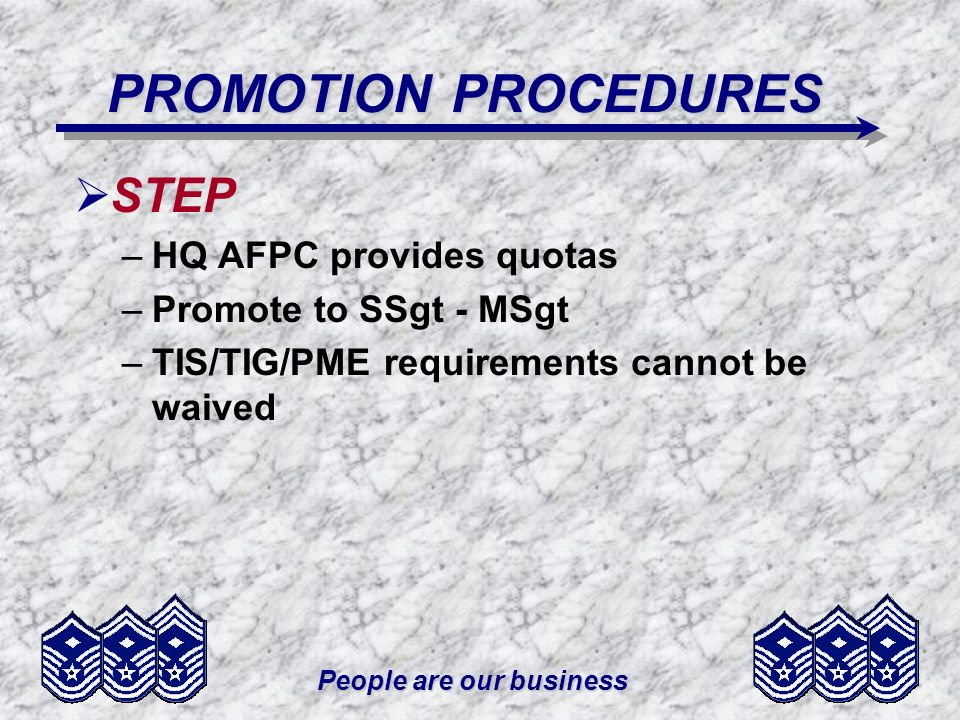 People are our business PROMOTION PROCEDURES STEP –HQ AFPC provides quotas –Promote to SSgt - MSgt –TIS/TIG/PME requirements cannot be waived