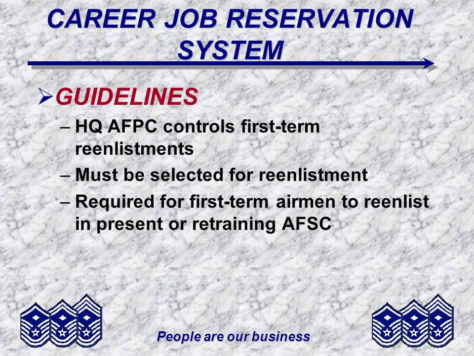 People are our business CAREER JOB RESERVATION SYSTEM GUIDELINES –HQ AFPC controls first-term reenlistments –Must be selected for reenlistment –Requir