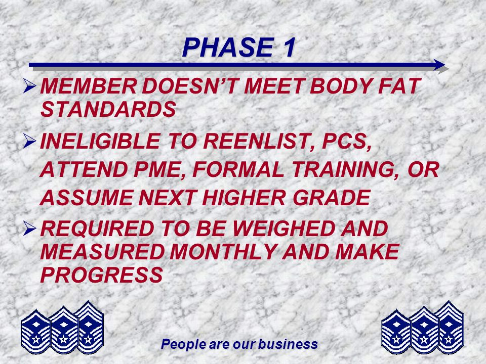 People are our business PHASE 1 PHASE 1 MEMBER DOESNT MEET BODY FAT STANDARDS INELIGIBLE TO REENLIST, PCS, ATTEND PME, FORMAL TRAINING, OR ASSUME NEXT