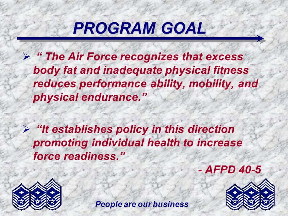 People are our business PHASE 1 PHASE 1 MEMBER DOESNT MEET BODY FAT STANDARDS INELIGIBLE TO REENLIST, PCS, ATTEND PME, FORMAL TRAINING, OR ASSUME NEXT HIGHER GRADE REQUIRED TO BE WEIGHED AND MEASURED MONTHLY AND MAKE PROGRESS