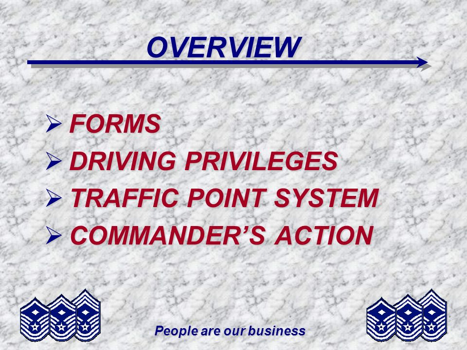 People are our business OVERVIEW FORMS FORMS DRIVING PRIVILEGES DRIVING PRIVILEGES TRAFFIC POINT SYSTEM TRAFFIC POINT SYSTEM COMMANDERS ACTION COMMAND