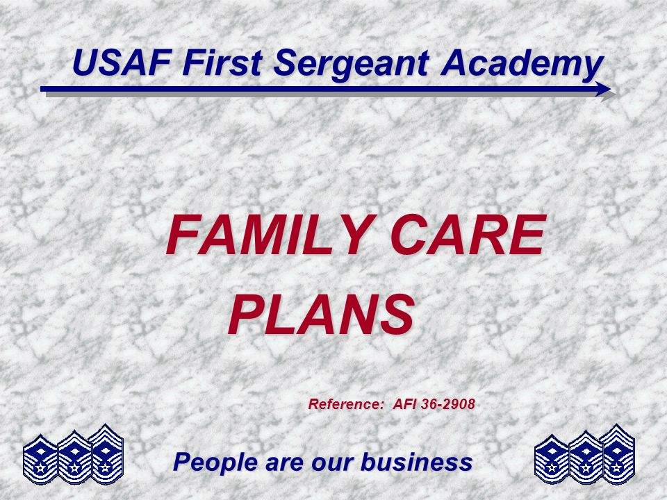 People are our business USAF First Sergeant Academy FAMILY CARE PLANS PLANS Reference: AFI 36-2908 Reference: AFI 36-2908