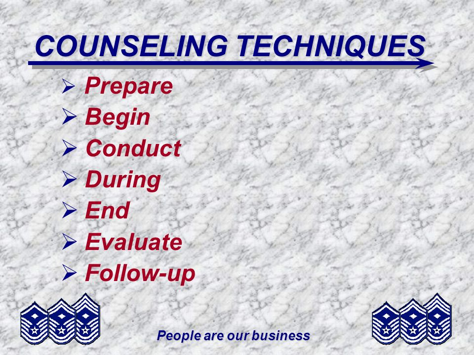 People are our business COUNSELING TECHNIQUES Prepare Begin Conduct During End Evaluate Follow-up