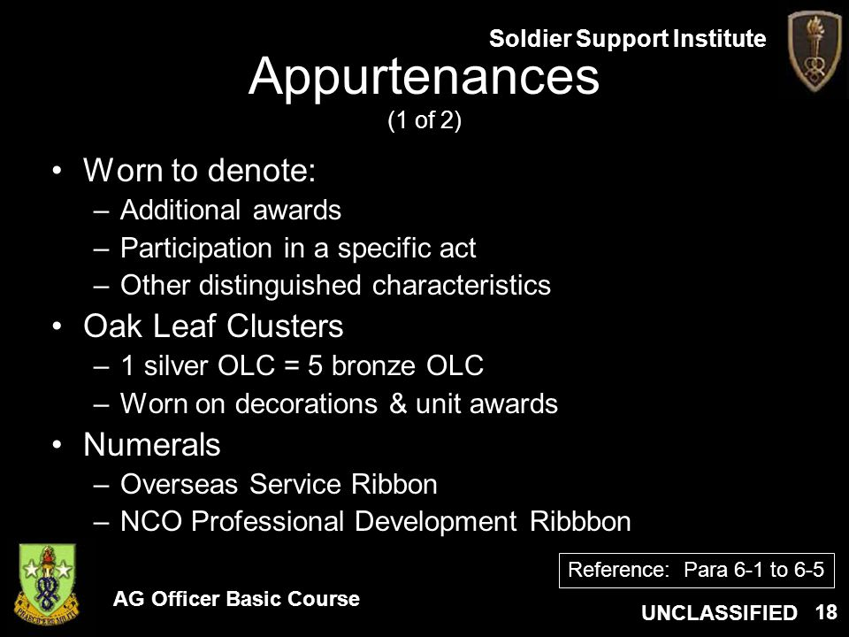 AG Officer Basic Course UNCLASSIFIED Soldier Support Institute 18 Appurtenances (1 of 2) Worn to denote: –Additional awards –Participation in a specif