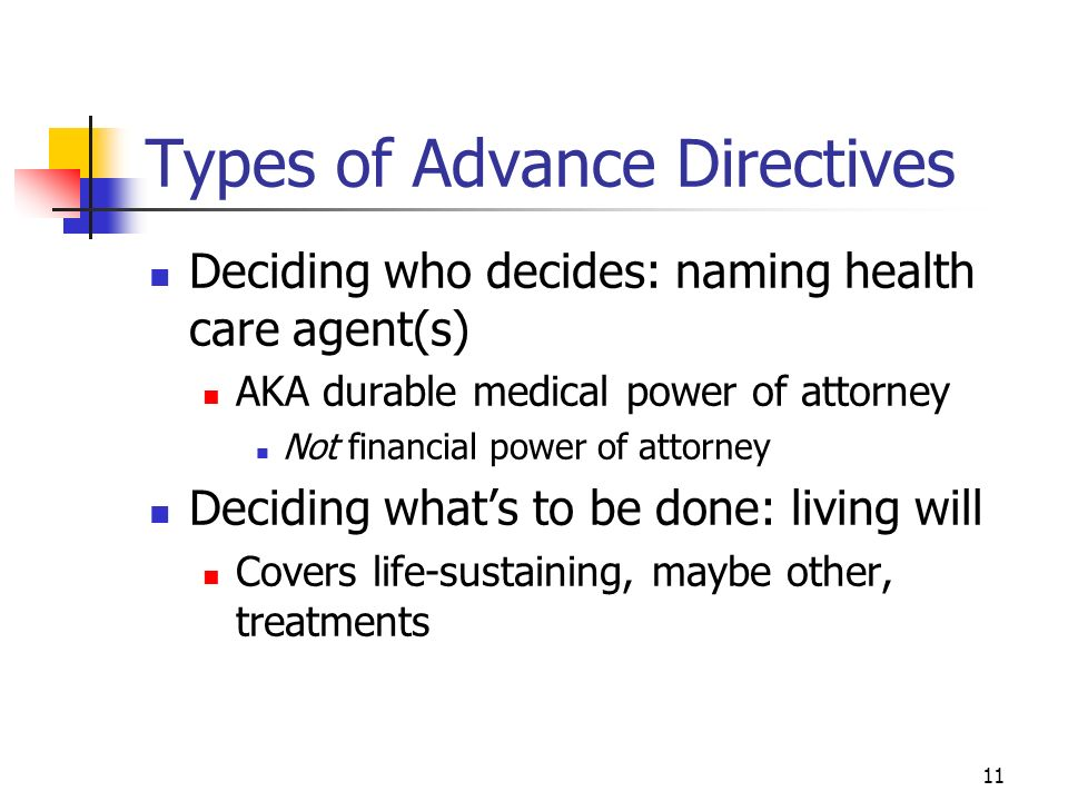 11 Types of Advance Directives Deciding who decides: naming health care agent(s) AKA durable medical power of attorney Not financial power of attorney Deciding whats to be done: living will Covers life-sustaining, maybe other, treatments