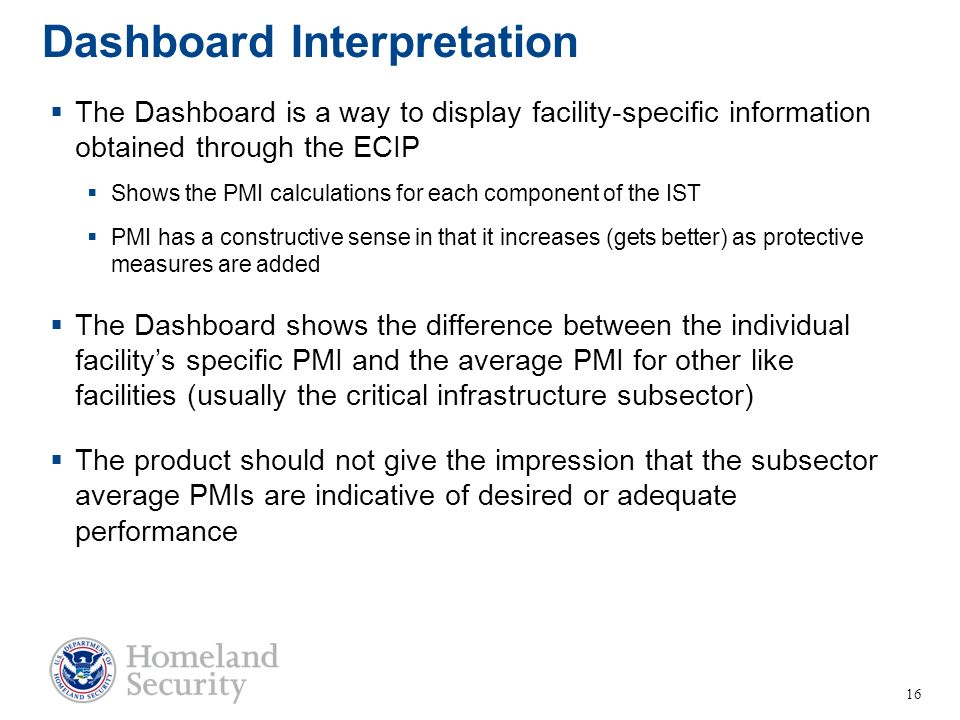 Dashboard Interpretation The Dashboard is a way to display facility-specific information obtained through the ECIP Shows the PMI calculations for each