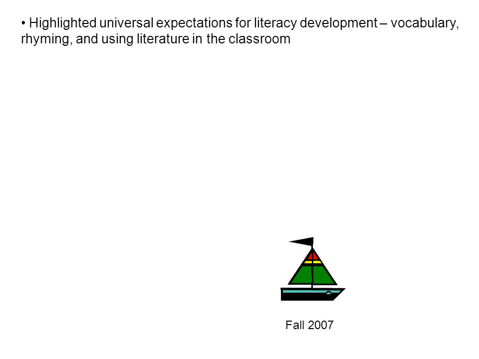 Fall 2007 Highlighted universal expectations for literacy development – vocabulary, rhyming, and using literature in the classroom
