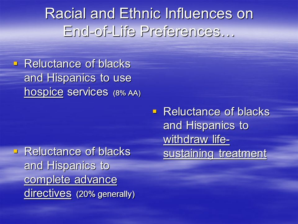 … Racial and Ethnic Influences on End-of-Life Preferences Race/ethnicity is a predictor of end of life decision-making (even when adjust for demographic and socioeconomic status) Race/ethnicity is a predictor of end of life decision-making (even when adjust for demographic and socioeconomic status) Religion/religiosity/spirit- uality associated with measures to prolong life, reluctance to withdraw life support, and disapproval of assisted suicide Religion/religiosity/spirit- uality associated with measures to prolong life, reluctance to withdraw life support, and disapproval of assisted suicide Women are more likely to experience more pain and be undertreated for pain.