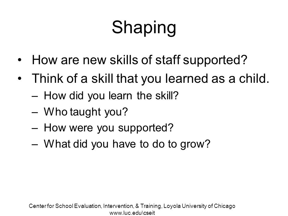 Center for School Evaluation, Intervention, & Training, Loyola University of Chicago www.luc.edu\cseit Shaping How are new skills of staff supported.