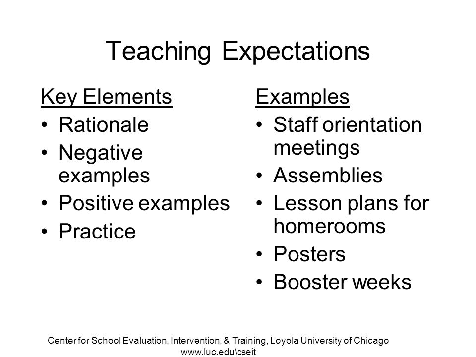 Center for School Evaluation, Intervention, & Training, Loyola University of Chicago www.luc.edu\cseit Teaching Expectations Examples Staff orientation meetings Assemblies Lesson plans for homerooms Posters Booster weeks Key Elements Rationale Negative examples Positive examples Practice