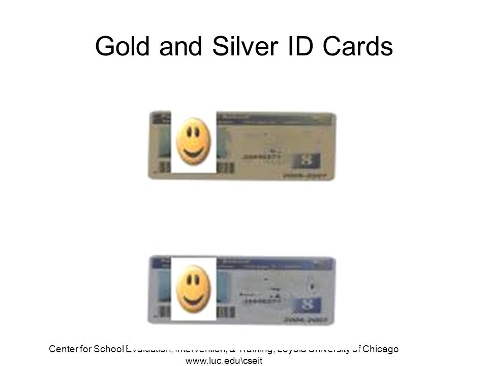 Center for School Evaluation, Intervention, & Training, Loyola University of Chicago www.luc.edu\cseit Gold and Silver ID Cards