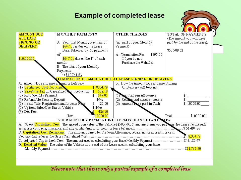 Example of completed lease Please note that this is only a partial example of a completed lease