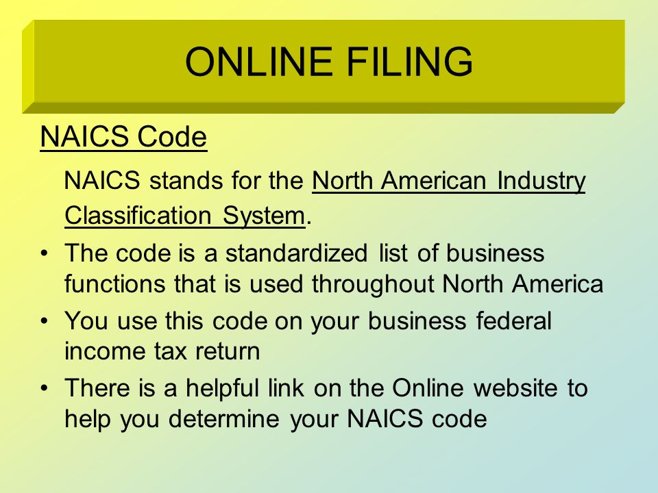 NAICS Code NAICS stands for the North American Industry Classification System. The code is a standardized list of business functions that is used thro
