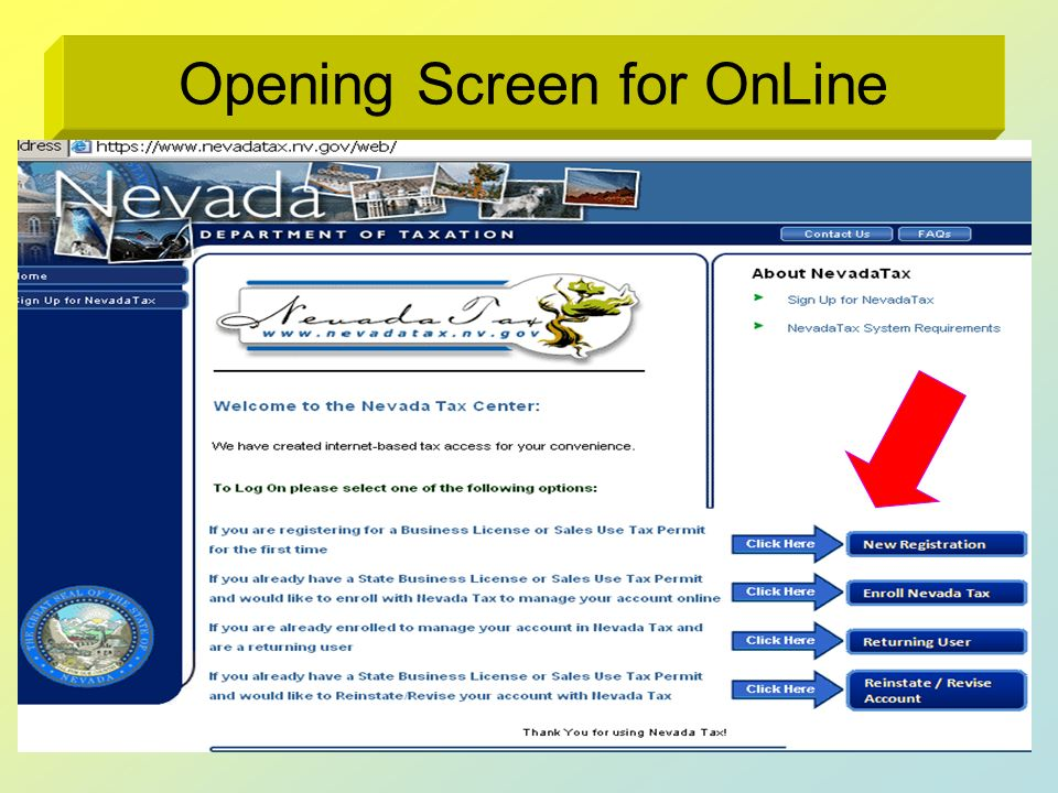 Opening Screen for OnLine