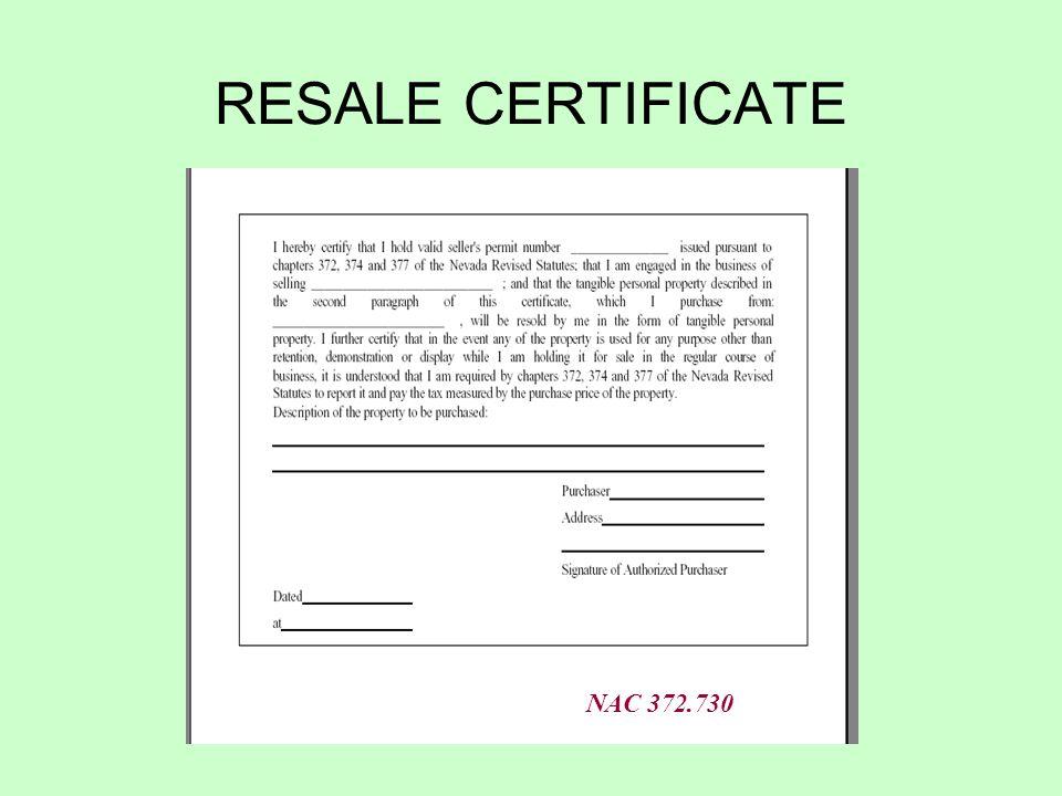 RESALE CERTIFICATE NAC 372.730