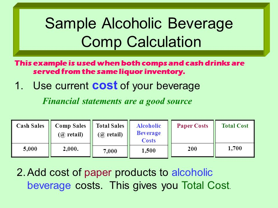 Sample Alcoholic Beverage Comp Calculation This example is used when both comps and cash drinks are served from the same liquor inventory. 1.Use curre