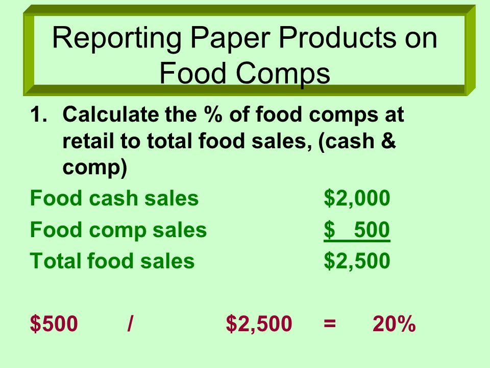 Reporting Paper Products on Food Comps 1.Calculate the % of food comps at retail to total food sales, (cash & comp) Food cash sales$2,000 Food comp sa