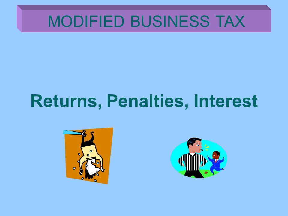 Returns, Penalties, Interest MODIFIED BUSINESS TAX