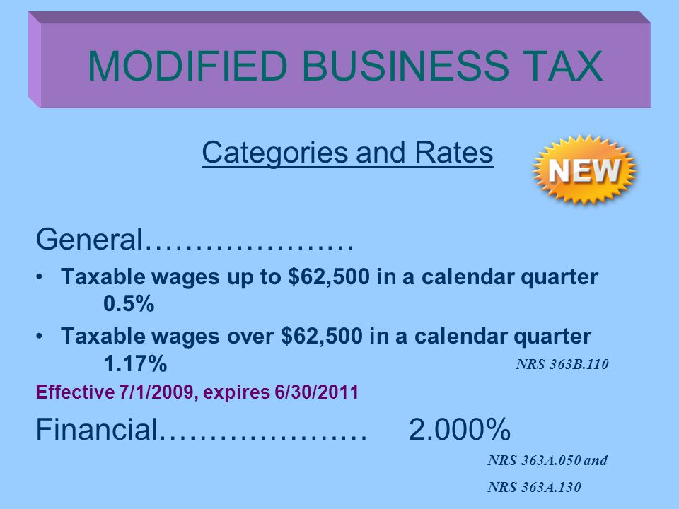 Categories and Rates General………………… Taxable wages up to $62,500 in a calendar quarter 0.5% Taxable wages over $62,500 in a calendar quarter 1.17% Effe