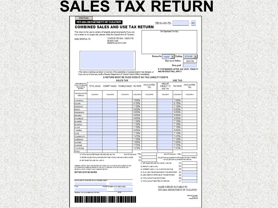 SALES TAX RETURN