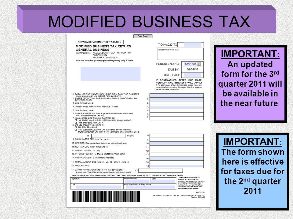 IMPORTANT : An updated form for the 3 rd quarter 2011 will be available in the near future. IMPORTANT : The form shown here is effective for taxes due