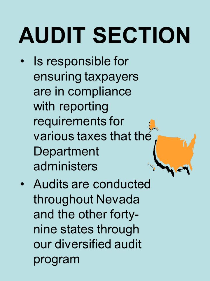 AUDIT SECTION Is responsible for ensuring taxpayers are in compliance with reporting requirements for various taxes that the Department administers Au