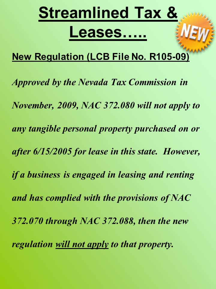 Streamlined Tax & Leases….. New Regulation (LCB File No.