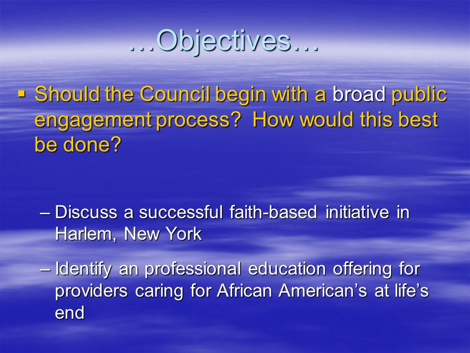 …Objectives… Should the Council begin with a broad public engagement process? How would this best be done? Should the Council begin with a broad publi