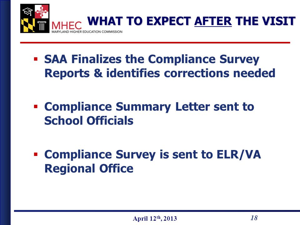 April 2010 April 12 th, 2013 WHAT TO EXPECT THE VISIT WHAT TO EXPECT AFTER THE VISIT SAA Finalizes the Compliance Survey Reports & identifies correcti